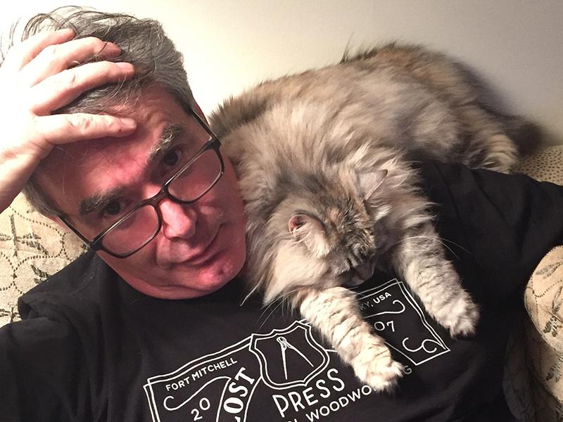 Steve Heffernan and Minerva the Siberian kitty